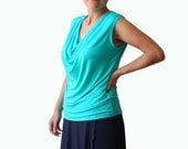 Plus size clothing, Loose top with cowl neck, Plus size top, Cyan top, Custom plus size top, Womens clothing, Sleeveless Plus size tee