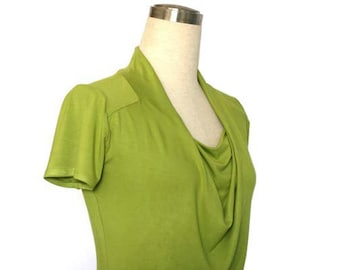 Cowl Neck Dress, Lime green dress, Short Sleeve dress, Simple spring / summer Dress, cowl neck tunic, plus size dress