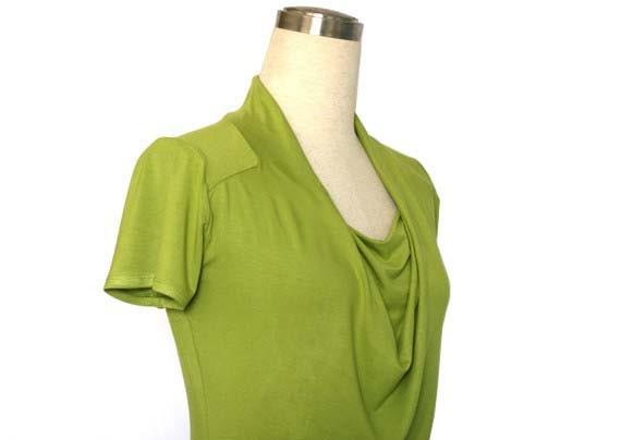 Cowl Neck Dress, Lime green dress, Short Sleeve dress, Simple spring / summer Dress, cowl neck tunic, plus size dress