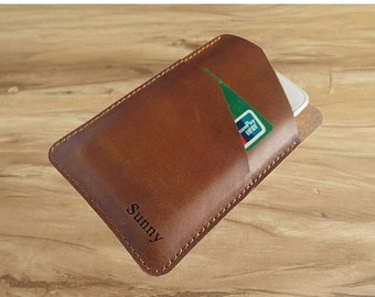 Holiday Sale 10% off Mens leather Iphone 6 case / leather Iphone 5 case / Iphone 5s case wallet for women, personalized leather iphone case