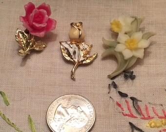 Lot Sale Three Floral Pins