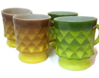 Kimberly Mugs Ombre Green Yellow and Brown Yellow