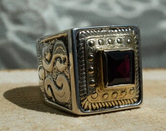Gypsy ring, statement ring, silver gold ring, twotone ring, red garnet ring, square ring, gemstone ring, unique ring - Red Russia R1600X