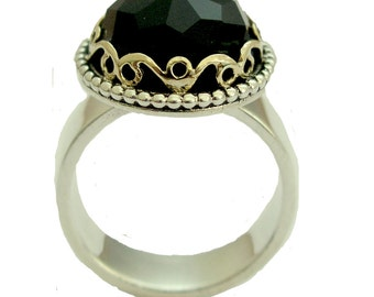 Two tone ring, Victorian ring, engagement ring, Black Onyx Ring, stone ring, sterling silver ring, gold ring, The deepest jet black R1260