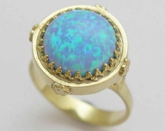 Solid gold opal ring, 14k yellow gold engagement ring, gemstone ring, cocktail ring, crown ring, Victorian ring - Something blue RG1247-1