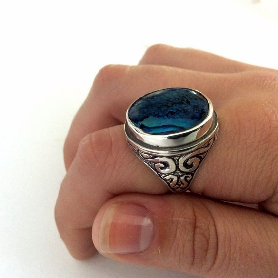 Blue shell ring, Round silver Ring, sterling silver ring, large stone ring, statement ring, oxidized silver ring - A dream on our way  R2197