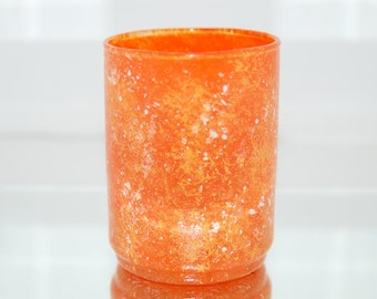 Orange Marbled Glass Votive Candle Holder Hand Painted