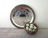 Vintage Small Round Silver Plate Serving Tray