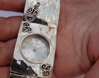 925 Fine Silver Bracelet Watch, Handmade Massive Bracelet Watch, Sterling Silver Bracelet, Israel Jewelry (s w3906)