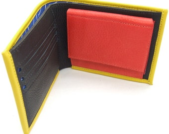 Yellow leather wallet with pop coin pocket, three card slots and notes pocket