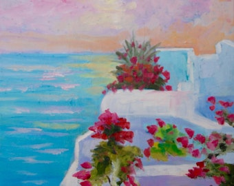 Greece - Modern Impressionist Original Oil Painting of Santorini Greece by Rebecca Croft