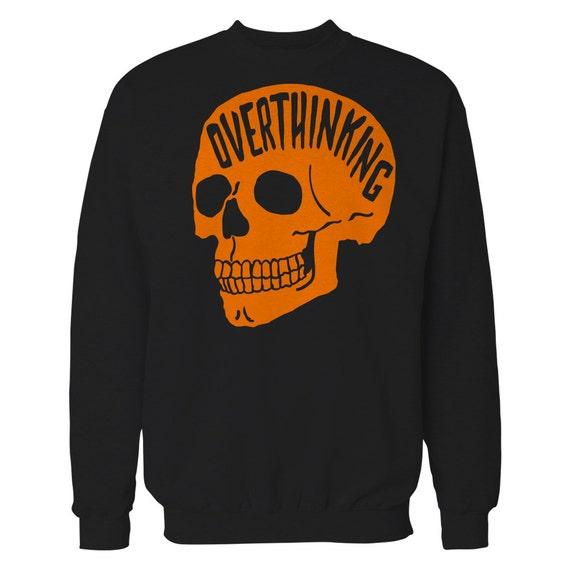 Overthinking Sweater. Anxiety Skull Sweatshirt. Orange Edition.