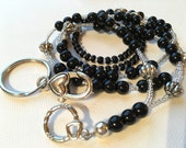 Black Pearl and Silver ID Badge Lanyard great for dressy businesswoman or flight attendant