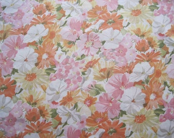 Vintage Sheet Fabric Fat Quarter – Floral Flowers Daisies Orange Yellow Pink Olive Green