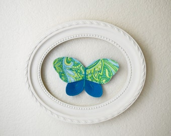 3d fabric butterfly, wall decor for girls room, nursery decor. paisley butterfly fabric wall decal. 3d wall art