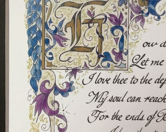 How Do I Love Thee/ Elizabeth Browning/Wedding Gift/For Him/For Her/print of original/on white/Valentines