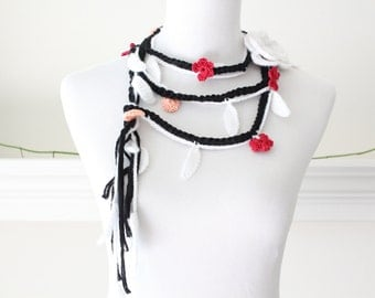 Crochet Black, White, Red, Orange Lariat, Scarf, Necklace, Scarflette
