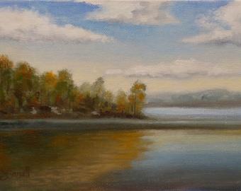 Early Autumn_ Original Oil Painting_ Gold Leaf Wood Frame_ Landscape_En Plein Air,