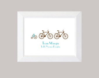 Custom Family Print, Bike,  Bicycles, Baby Announcement, Typography, Bikes Print, New Baby Wall Art, Family Print, Bicycle Print
