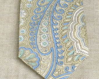 Vintage Tie, Necktie, Mens, Dress Tie, Ralph Lauren, Paisley, Mark Shale, Pastel, Light Blue, Designer ,Ties ,Mens Accessories, Spring