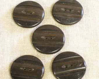 Bakelite Buttons , Coat Buttons , Large Buttons , Brown , Set of 5 , Vintage Buttons , Antique Buttons , Set of Coat Buttons ,Set of Buttons