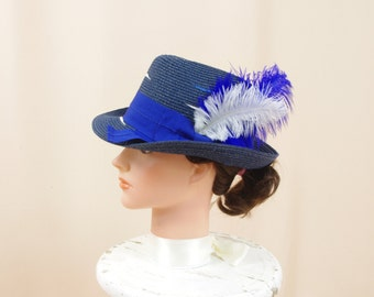 Navy Blue Fedora, Panama Hat, Navy Blue Hat, Blue and Cream, Magid Hat, Summer Hat, Womens Fedora, Blue Straw Hat, Fashion Hat