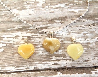 Baltic Amber Heart Necklace, pendant charm necklace, natural pain reliever, amber jewelry, silver necklace