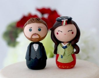 Personalized Korean wedding cake topper kokeshi figurines