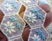 2 Yards Mid Century Daisy Embroidered Sheer Cream Organdy in Light Blue and Cream 1950s Floral Hexagon Dress Trim in Cream and Baby Blue