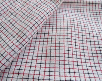 Vintage Red Black TINY Checkered Plaid  Woven Dress Fabric 5 yard