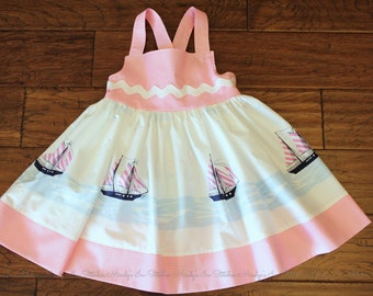 Girl's Cotton Dress, Sarah Jane Out to Sea Dress