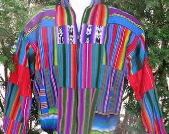 Vtg 1990s Guatemala Rainbow Cotton Jacket, Large, Unisex