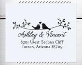 Custom Address Stamp, Rustic Wedding Address Stamp, Calligraphy Address Stamp, Self inking or Eco Mount stamp - Twig Birds