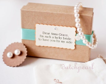 3 SETS BRACELET and  EARRINGS -  6mm pearl bracelet personalized and 7mm pearl studs -  bridesmaid gift monogram  will you be my bridesmaid