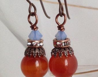 Small and sweet swarovski and carnelian earrings