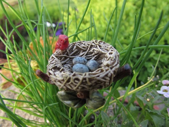 "Red Cardinal 1"" Bird Nest with Mother Cardinal and 3 Blue Eggs (2"" metal pick) for the Fairy Garden"