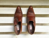 RESERVED Vintage brown leather winklepickers, GUESS ankle booties, slip on heels, women's shoes size 6