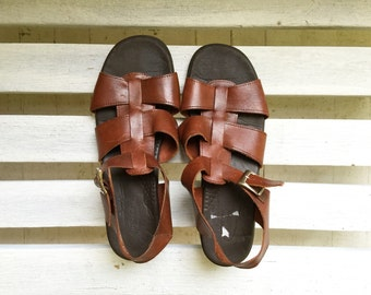 Vintage brown leather gladiator sandals, slip on slide heels, buckle and strap, womens shoes size 11