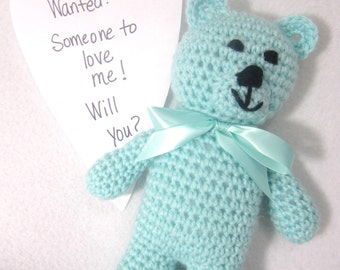 Crochet Teddy Bear Stuffed Animal, First Bear for Baby, Pastel Turquoise Bear, Soft and Cuddly Toy for Baby or Toddler, Baby Shower Gift