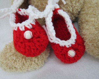 Baseball Baby Booties, Baby Shower Gift,Red and White Baby Shoe with White Bow, St. Louis Cardinals Inspried, Baby Shower Gift, Photo Prop