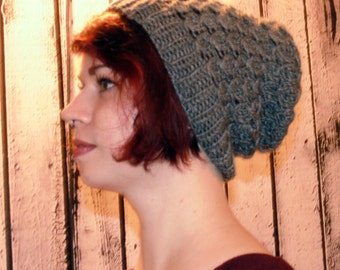 Knitted Gray Slouchy Hat, Beanie Winter Hat, Slouchy Grey Hat
