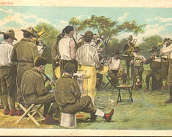 Military Men Vintage Post Card Unused Band Practice Men in Fatigues