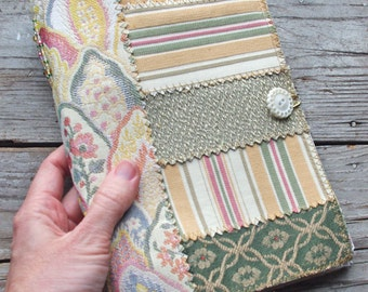 Travel Journal or Art Journal, Upholstery Fabric Covers and Beaded Stitch, size 9x6