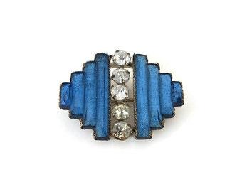 Art Deco Brooch, Vauxhall Glass, Blue Glass, Rhinestone Brooch, Czech, Art Deco Jewelry, Vintage Brooch, Vintage Jewelry