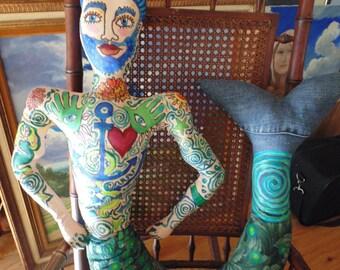 Hand made, merman doll, painted fabric ,