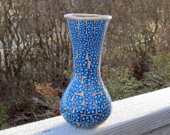 7 inch Glass Vase Covered with Polymer Clay - Turquoise and Navy Millefiori Flowers on Metallic Gold Background