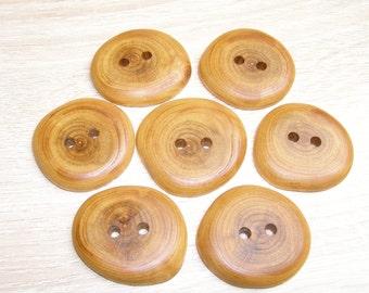 """7  Handmade  plum wood buttons, accessories (1,69"""" diameter x 0,28"""" thick)"""