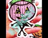 Pepita Pumpkin Vinyl Decal Sticker Stickers Spooky Cutie Creepy Cute Decals Halloween Pink Pumpkin Blue Purple Orange