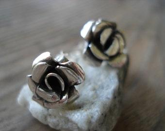 Earrings Studs Silver Roses Handmade Sweet Summer Rose Earrings Studs for Her Gift for Her Under 100 One of a Kind Earrings Sterling Silver