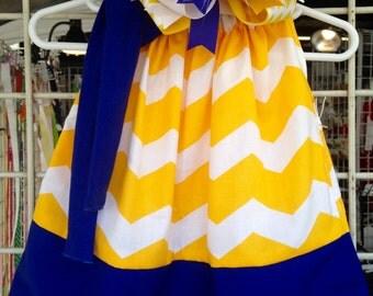 Custom Boutique handmade Royal Blue and Gold Pillowcase Dress